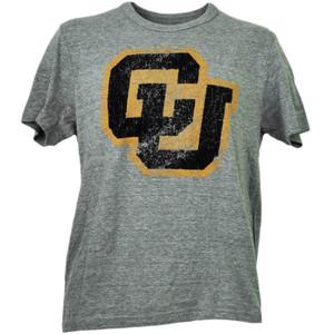 NCAA Colorado Buffaloes Felt Logo Short Sleeve Mens Gray Tshirt Tee Crew Neck