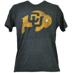 NCAA Colorado Buffaloes Charcoal Tshirt Tee Mens Adult Short Sleeve Distressed