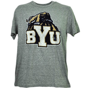 NCAA Brigham Young Cougars Felt Logo Tshirt Tee Short Sleeve Mens Adult Sports