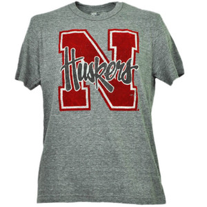 NCAA Nebraska Cornhuskers Felt Logo Tshirt Tee Gray Short Sleeve Mens Adult