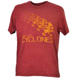 NCAA Iowa State Cyclones ISU Repeat Logo Red Mens Tshirt Tee Crew Neck Sports