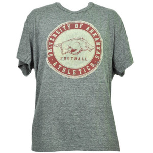 NCAA Arkansas Razorbacks Felt Logo Tshirt Tee Mens Short Sleeve Gray Sports