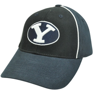 NCAA Brigham Young Cougars Two Tone Black Navy Blue Curved Bill Velcro Hat Cap