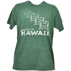 NCAA Hawaii Warriors Repeat Logo Tshirt Tee Green Mens Adult Short Sleeve Sports