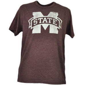 NCAA Mississippi State Bulldogs Burgundy Tshirt Tee Mens Short Sleeve Crew Neck
