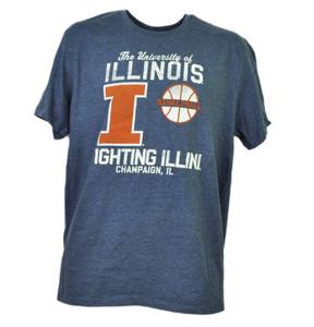 NCAA Illinois Fighting Illini Basketball Navy Blue Short Sleeve Mens Champaign