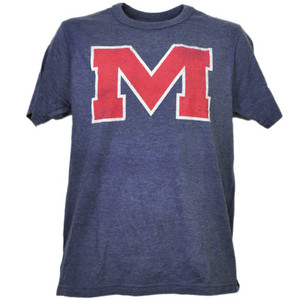 NCAA Mississippi Rebels Distressed Logo Tshirt Tee Short Sleeve Mens Adult Sport