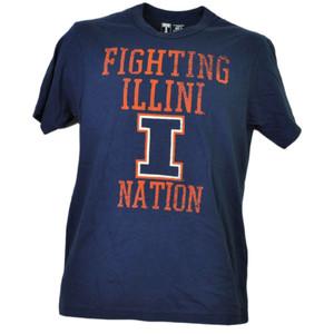 NCAA Illinois Fighting Illini Nation Navy Blue Short Sleeve Mens Crew Neck Sport
