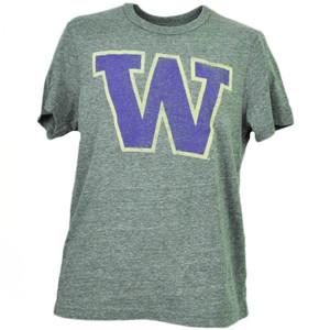 NCAA Washington Huskies Felt Logo Distressed Gray Mens Tshirt Tee Crew Neck Sport