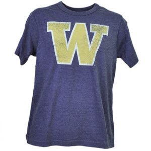 NCAA Washington Huskies Distressed Logo Short Sleeve Purple Tshirt Tee Mens Adult