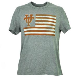 NCAA Texas Longhorns Flag Gray Tshirt Tee Mens Adult Short Sleeve Crew Neck Sport
