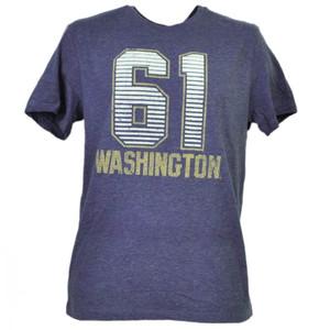 NCAA Washington Huskies Felt 61 Distressed Purple Mens Tshirt Tee Crew Neck
