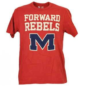 NCAA Mississippi Rebels Foward Red Tshirt Tee Mens Adult Crew Neck Short Sleeve