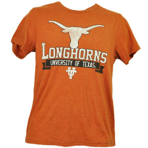 NCAA Texas Longhorns Horns Tshirt Tee Mens Orange Short Sleeve Crew Neck Adult