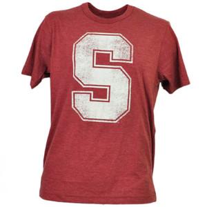 NCAA Stanford Cardinals Distressed Logo Tshirt Tee Burgundy Mens Adult Sports