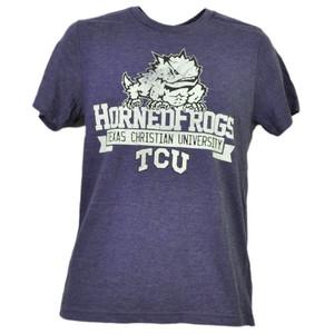 NCAA TCU Texas Christian Horned Frogs Distressed Logo Tshirt Tee Mens Sports
