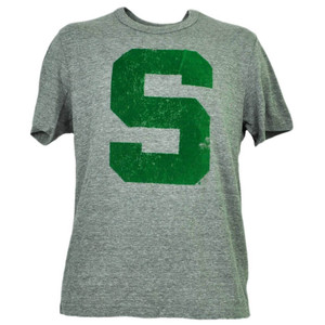 NCAA Michigan State Spartans Felt Logo Tshirt Tee Short Sleeve Mens Gray Sports