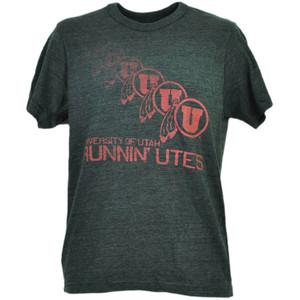 NCAA Utah Utes Repeat Logo Gray Mens Tshirt Tee Adult Short Sleeve Crew Neck