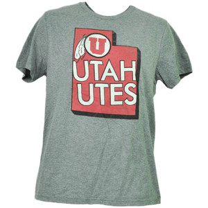 NCAA Utah Utes State Map Logo Gray Mens Tshirt Tee Adult Short Sleeve Crew Neck
