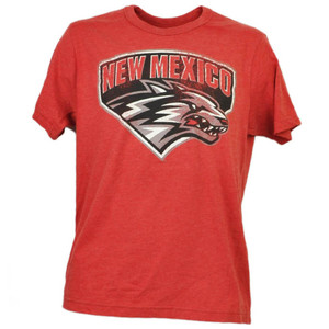 NCAA New Mexico Lobos Red Distressed Logo Tshirt Tee Mens Short Sleeve Crew Neck