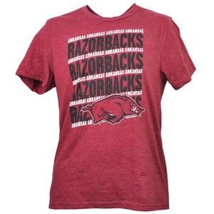 NCAA Arkansas Razorback Repeat Logo Tshirt Tee Burgundy Mens Adult Short Sleeve