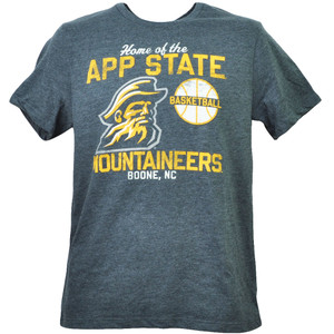 NCAA Appalachian State Mountaineers Boone NC Basketball Gray Tshirt Tee Mens