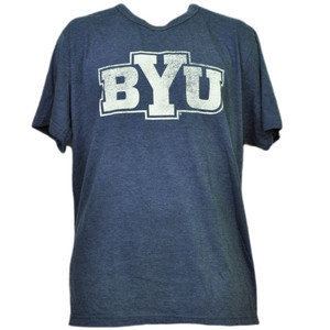 NCAA Brigham Young Cougars Distressed Logo XLarge Tshirt Tee Navy Blue Crew Neck