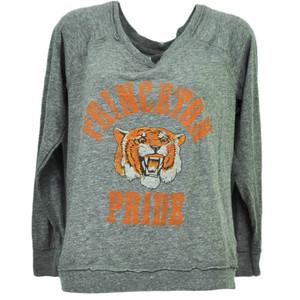 NCAA Princeton Tigers Long Sleeve Large Womens Loose Fit Tshirt Gray Sports