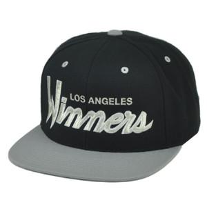099691022bd RWTW Logo Roll With The Winner Los Angeles Snapback Hat Cap Black Flat Bill