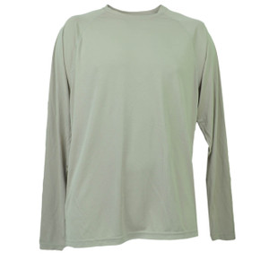 Beige Dry Fit Tshirt Tee Mens Adult Long Sleeve Plain Blank Crew Neck Solid