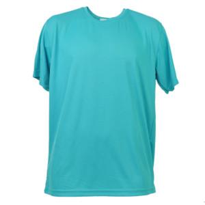 Aqua Dry Fit Tshirt Tee Mens Adult Short Sleeve Plain Blank Solid Gym Crew Neck