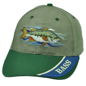 Bass Fishing Outdoor Camping Fish Olive Green Velcro Hat Cap Adjustable Camp