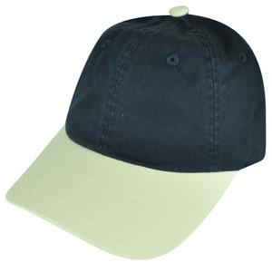 American Needle Blank Two Toned Navy Beige Plain Sun Buckle Curved Bill Hat Cap