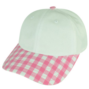 American Needle Blank Ladies Fit Pink Plaid Sun Buckle Curved Womens Hat Cap