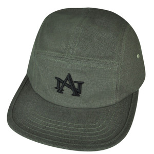 American Needle Logo Clip Buckle Hat Cap Gray Relaxed Brand Flat Bill Adjustable