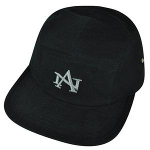 American Needle Logo Clip Buckle Hat Cap Black Relaxed Brand Flat Bill Adjustable
