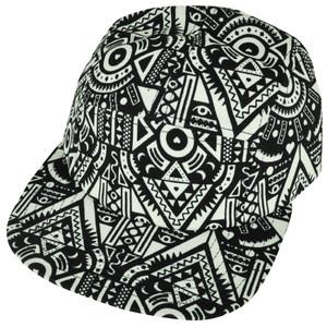 American Needle Blank Aztec Pattern Blank White Flat Bill Snap Buckle Hat Cap