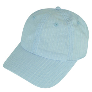 American Needle Blank Blue Relaxed White Stripes Sun Buckle Curved Bill Hat Cap