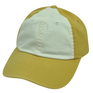 American Needle Two Tone Mustard Yellow White Plain Blank Solid Hat Cap Relaxed
