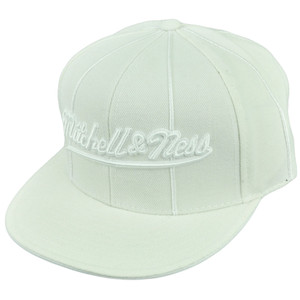 Mitchell Ness Logo White Flat Bill Fitted 7 5/8 Headwear Brand Hat Cap Est 1904