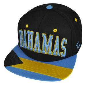 9b6710ef432 Zephyr Bahamas Island Adjustable Black Snapback Villain Star World Flag Hat  Cap