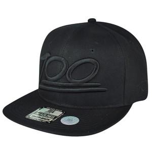 100 One Hundred Emoji Emoticons Text Symbol Snapback Hat Cap Flat Bill Black