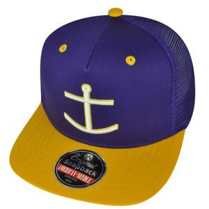 American Needle Flat Bill Mesh Snapback Anchor Hat Cap Trucker Sailor Purple