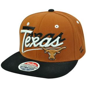 NCAA Texas Longhorns Flat Bill Logo Zephyr Burnt Orange Black Snapback Hat Cap