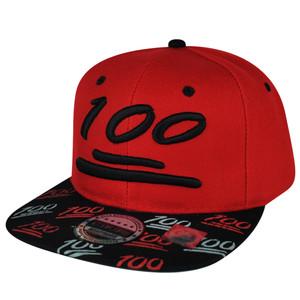 100 One Hundred Snapback Hat Cap Emoji Text Symbol Emoticons Red Black Flat Bill