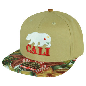 American Needle Cali Bear California Republic Flag Tropical Snapback Hat Cap