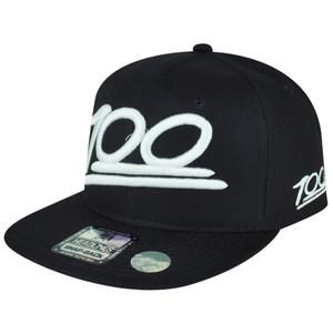 100 One Hundred Emoji Emoticons Text Symbol Snapback Hat Cap Flat Bill White