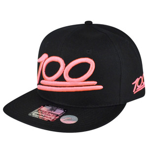 100 One Hundred Emoji Emoticons Text Symbol Snapback Hat Cap Neon Pink Flat Bill