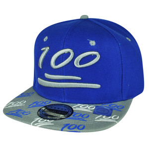 100 One Hundred Snapback Hat Cap Emoji Text Symbol Emoticons Blue Flat Bill