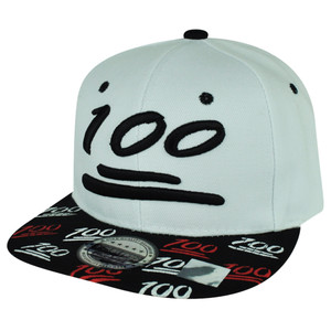 100 One Hundred Snapback Hat Cap Emoji Text Symbol Emoticons White Adjustable